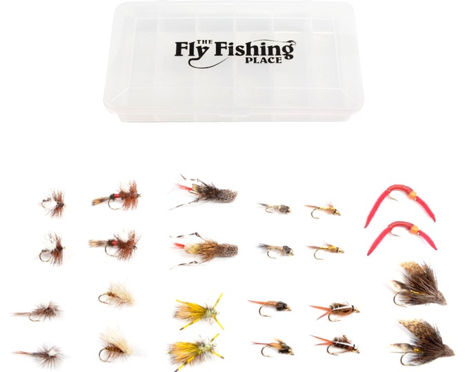 Fly Fishing Gift Set - 24 of Our Premium Hand-Tied Trout Fly Fishing Flies in Gift Fly Box - 2 Each of 12 Dry and Wet Fly Patterns