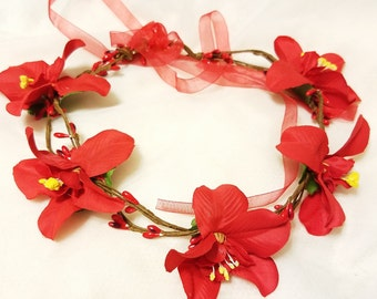 FREE SHIPPING! Exotic Adjustable RED Orchid Floral women Hair Wreath/Wedding/Maternity Headband/Family PhotoProp