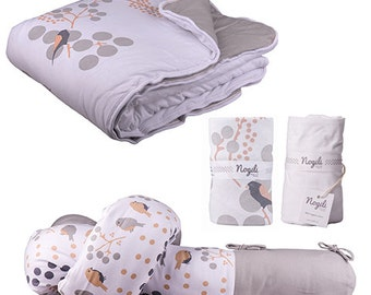 Bloom Sparrow Big and Small Dreams set organic cotton baby, baby shower gift, sparrows and branches set
