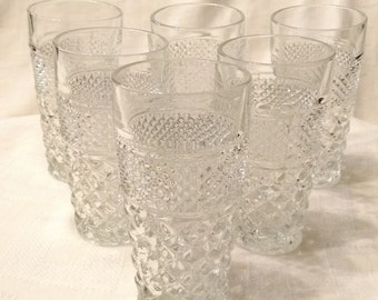 Set of 6 Vintage Anchor Hocking Wexford Iced Tea Drinking Glaseses