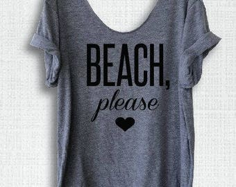 Beach Please scoop neck tee