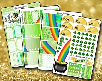 St. Patrick's Day and Rainbow Weekly Sticker Kit EC - Vertical Planner Stickers Erin Condren Life Planner Rainbow Planner Stickers Planner