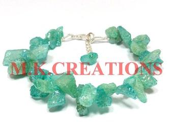 natural raw amozonite rough gemstone beads bracelet - raw rough amozonite beaded bracelet - 925 silver clasp - amozonite raw rough bracelet