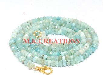 """On Sale Natural Larimar 3-4mm Faceted 28"""" Beads Necklace - Larimar Beads Necklace - Larimar Faceted Beads - Larimar Rondelle Beads"""