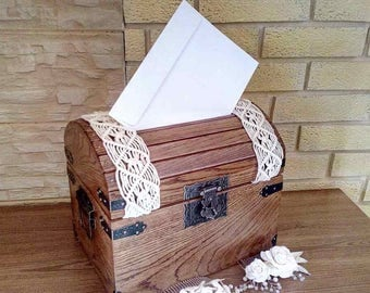 Wedding Card Box/ Finish-macrame/ Anniversary Gift/Wedding Memory Chest/Rustic Wedding Card Box/Wedding Card Holder/Memory Box
