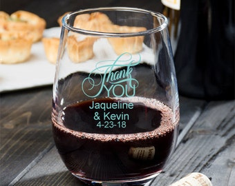 24 pcs Thank You Personalized 9 oz. Stemless Wine Glassware- Wedding Favors - Personalized Favors -MIC2312-7