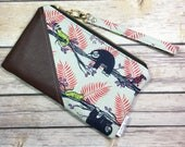Date Night Clutch, Fabric Clutch, Faux Leather Clutch, Sloth Fabric, Sloth Wallet, Honeymoon Fabric, Mothers Day