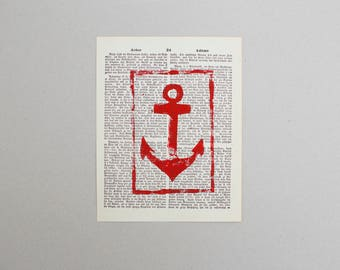 Linocut print anchor Red
