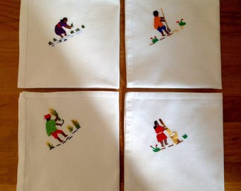 African Hand Embroidered Cotton Linen Table Napkins - Set of 4 - Village Life