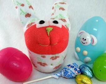 Sock Bunny, Sock Rabbit, Easter Bunny, Rosetta Bunny, Rabbit Stuffed Animal, Handmade bunny toy, One of a Kind, Plush Toy