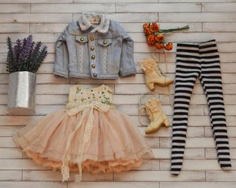 10% OFF Hand Made Shabby Chic Denim Jacket and Old Dress with Socks A64 A65