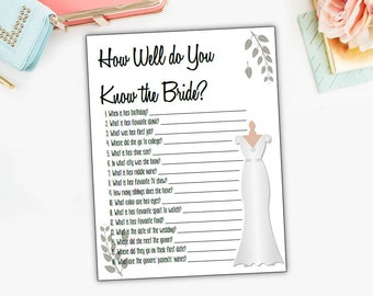 How Well Do You Know The Bride, questionnaire, quiz, bridal shower, game, bachelorette, party, wedding, #DD9