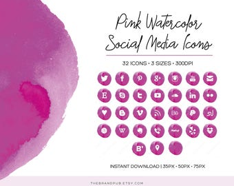 Pink Watercolor Social Media Icons Set - 32 Icons - 3 sizes - transparent PNG - Instant Download - Blog Kit - Watercolor Branding