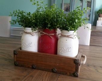 Mason Jar Centerpiece   Mason Jar Table Decor   Rustic Mason Jar Centerpiece    Rustic Home