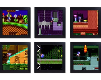 Sonic The Hedgehog Zones. Mini Framed Set Of 6. Green Hill, Marble,Spring Yard, Labyrinth, Star Light, Scrap Brain