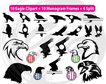 Eagle SVG, eagle head svg, eagle monogram frames svg, ready to cut files for Cricut, Silhouette etc, also in png, eps and DXF format