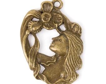Art Nouveau Lady Pendant (STEAM225)
