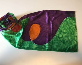 Hand painted silk scarf - That's 70's