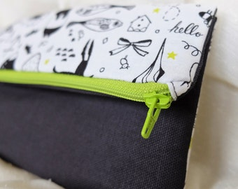 Black, White, and Lime Green Clutch Purse