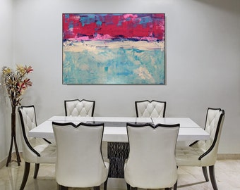 Large Art Print, Magenta Blue Artwork Large Print Living Room Bedroom Bathroom Decor Abstract Wall Art Canvas Print Modern Abstract Print