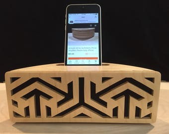Stylish Wooden iPhone Docking Station is a Passive Speaker Amplifier and Charging Station in one.  Makes the perfect gift for him or her.