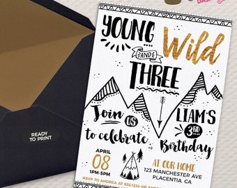 Young Wild and Three Birthday invitation Tribal gold and Black teepee Birthday Printable Boho birthday young wild and Three invitations