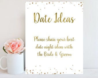 Date Night Ideas Sign, Gold Confetti, Wedding Games, Bridal Shower Sign, Wedding Advice Card, Gold Bridal Shower Games, Instant Download