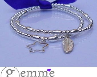 Sterling Silver Stretch STacking Bracelet Duo set with Feather & Star