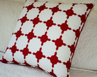 Red and White Geometric Stunning 45 x 45 cm - Cushion Cover