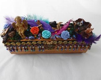 Decorative Wood Box, Handcrafted Wood Box, Jeweled Keepsake Box, Angel Jewelry Box, Unique Gift, Fantasy Jewelry Box, Whimsical Treasure Box