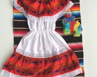 Little girl off shoulder traditional Mexican dress, size 6