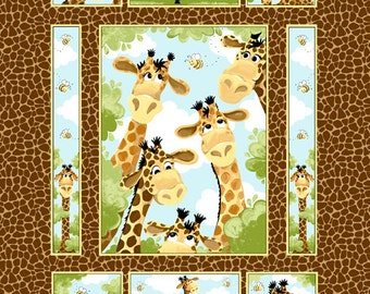 "Zoe the Giraffe Quilt Panel 36"" from Susybee SB20255-280 - juvenile susy bee cotton woven fabric character children kids cartoon safari"