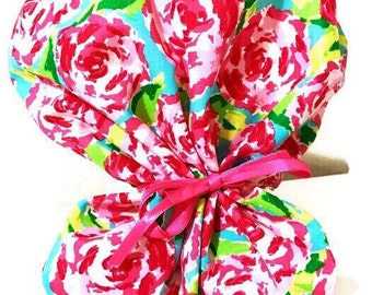 Lilly Pulitzer inspired Ponytail surgical cap/ scrub hat!Adjustable ponytail tightness bead & loops for interchangeable ribbons