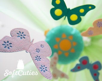 Felt Mobile With Butterflies. Baby Mobile Toy.