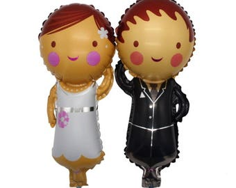 Balloons - Set of Bride & Groom Balloons - Small - great for events, weddings, bridal showers, bachelorette events and etc