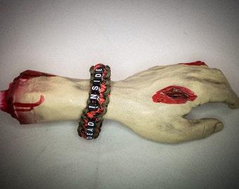 "Beaded Walking Dead inspired ""Dead Inside"" paracord bracelet"