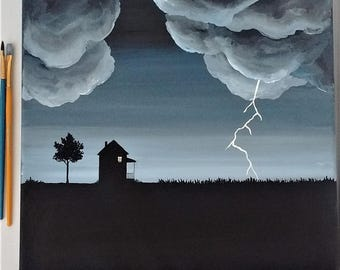 Lightning Painting Summer Lightning Original Art Acrylic on Canvas 12 x 12 Storm clouds House in field Landscape Wall Art Birds and Berry