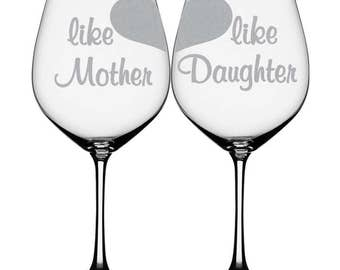 """Mother Daughter Wine Glasses """"Like Mother Like Daughter"""" Large Wine Glass Set for Wine Lovers Mother's Day Gift"""