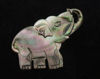 Vintage Mother of Pearl Elephant Pin, Carved Lapel Pin, Elephant Brooch, Elephant Jewelry, Trunk Up Elephant, Good Luck, Retro Jewelry