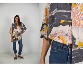 FREE SHIPPING Mens 1980 vintage blous , colorful blouse, XL shirt, yellow, orange shirt, 80s blouse,summer blouse, hipster shirt, print