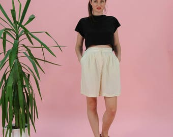 FREE SHIPPING Vintage silk shorts, white shorts, 80s high waisted silk shorts, high rise trousers