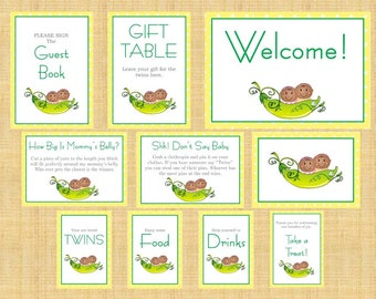 Two Peas in a Pod Baby Shower Table Signs - 10 Signs! Welcome, Favors, etc
