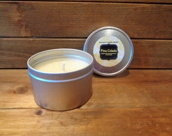 Scented pure beeswax candle in tin jar/candle in tin/6 oz tin