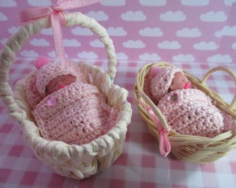 Basket or bassinet with baby Ooak miniature 4cm
