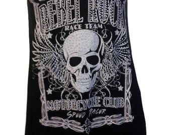 Skull Racerback Tank Black with Rhintestones Small