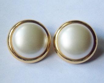 Trifari Gold tone Faux Pearl Clip on Earrings Trifari Earrings Gold tone Earrings Faux Pearl Earrings