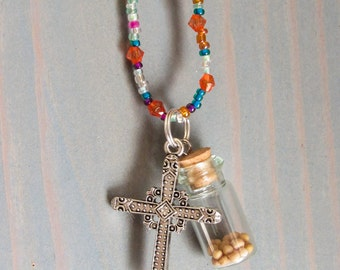 Beaded Cross Necklace with Mustard Seed Charm