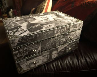 large mixed media black and whith film  jewellery box