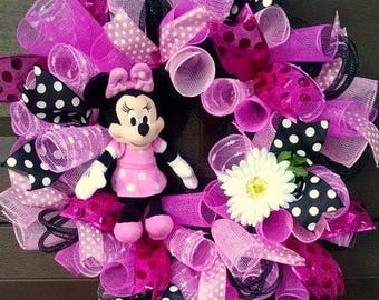 Summer Wreath for Front Door Wreath, Baby Girl Nursery Decor, Pink Polka Dot Wreath, Girly Decor, Pink Decor, Gift for Her, New Mom Gift