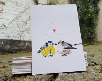 Postcard - bird love - postcard A6